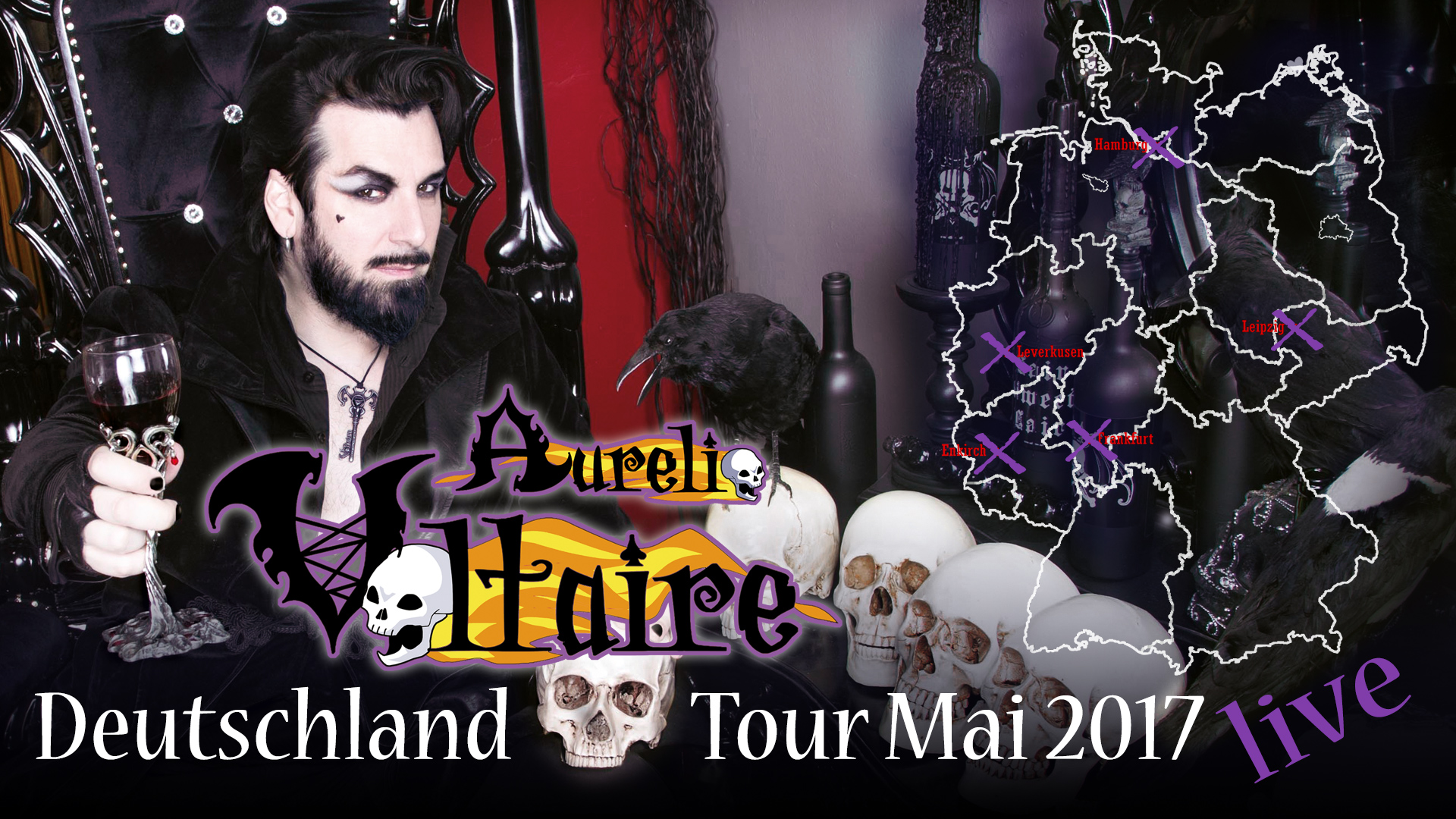 Voltaire Tour 2017 Locations in Germany Map Leipzig Leverkusen Frankfurt Enkirch Hamburg